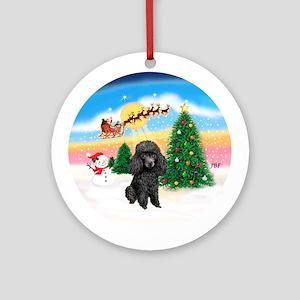 TakeOff1W/ Black Poodle Ornament (Round)