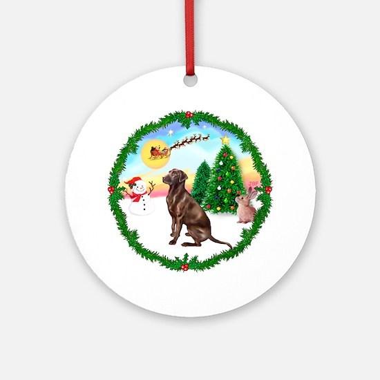 TakeOff1W/ Chocolate Labrador Ornament (Round)