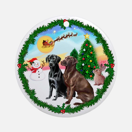 TakeOff1W/ Two Labradors Ornament (Round)