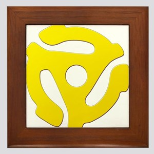 Yellow 45 RPM Adapter Framed Tile
