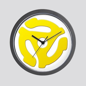 Yellow 45 RPM Adapter Wall Clock
