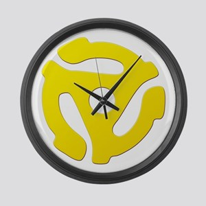 Yellow 45 RPM Adapter Large Wall Clock