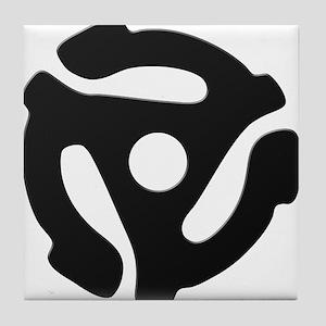 Black 45 RPM Adapter Tile Coaster