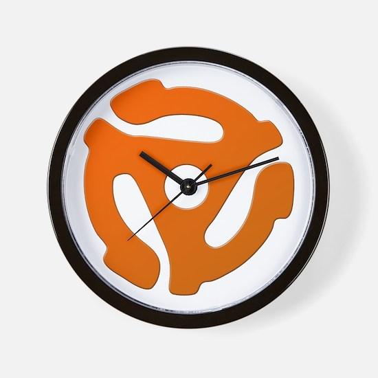 Orange 45 RPM Adapter Wall Clock