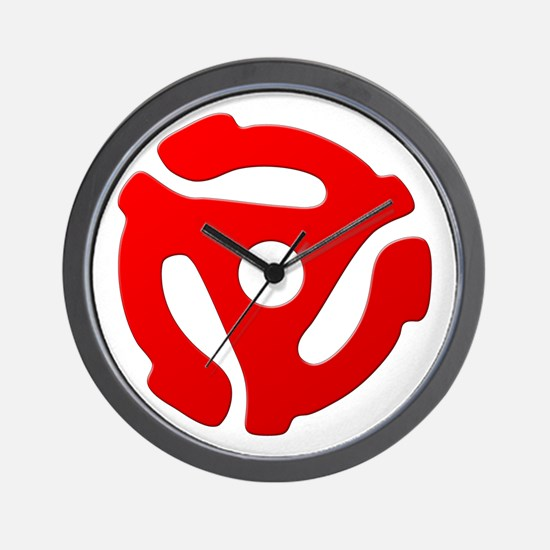 Red 45 RPM Adapter Wall Clock