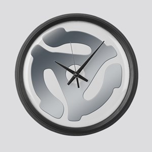 Silver 45 RPM Adapter Large Wall Clock