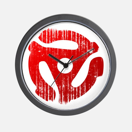 Distressed Red 45 RPM Adapter Wall Clock