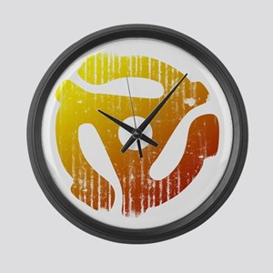 Distressed 45 RPM Adapter Large Wall Clock