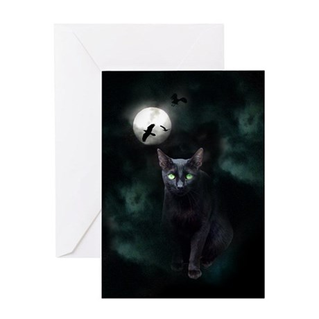 Cat under Full Moon Greeting Card