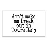 Tourette's Rectangle Sticker 10 pk)