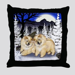 Cream Chow Chow Dogs Winter Throw Pillow