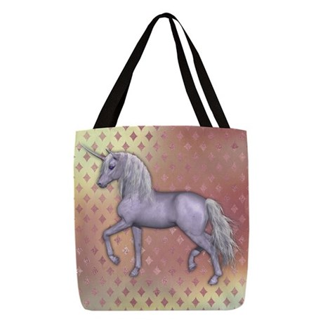 White Unicorn, Pink Diamonds Polyester Tote Bag