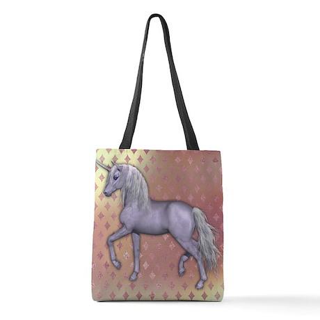 White Unicorn, Pink Diamonds Polyester Tote Bag