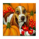 BASSET HOUND DOG HALLOWEEN tile coaste