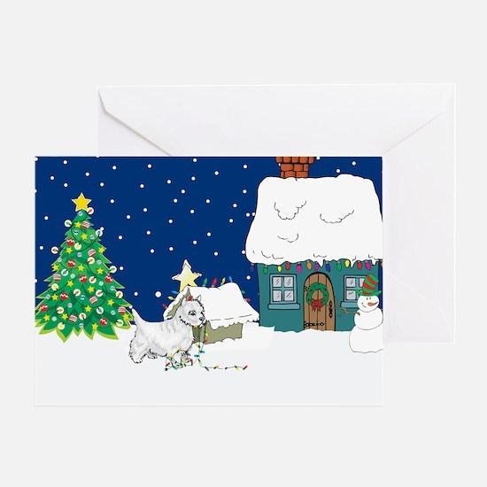 Christmas Lights Westie Greeting Card