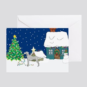 Christmas Lights Weimaraner Greeting Card