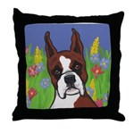 Boxer in the Flowers Throw Pillow