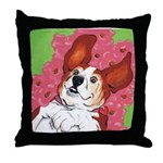Basset Hound in the Poppies Throw Pillow