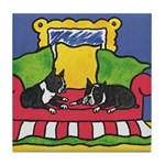 Bored Boston Terriers Tile Coaster