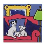 2 Jack Russell Terriers on Couch Tile Coaster