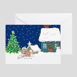 Christmas Lights Shihtzu Greeting Card