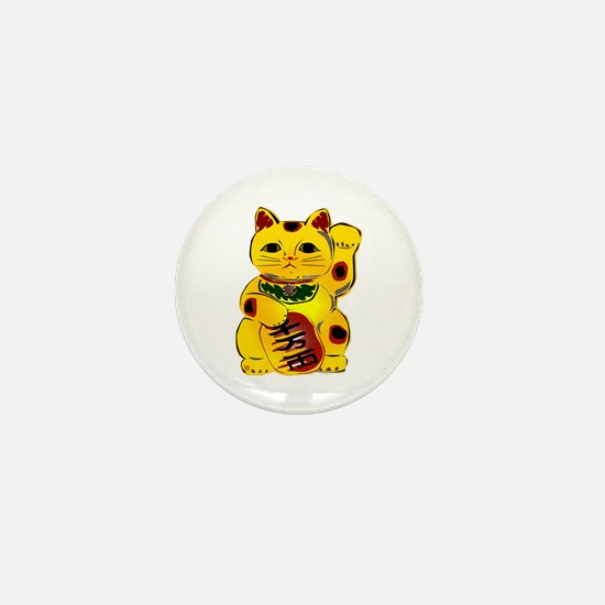 Gold Maneki Neko Mini Button