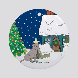 Christmas Lights Black Lab Ornament (Round)