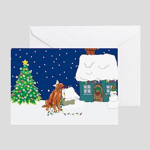 Christmas Lights Irish Setter Greeting Card
