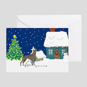 Christmas Lights Doberman Greeting Card