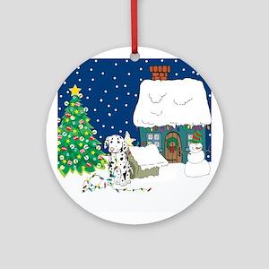 Christmas Lights Dalmation Ornament (Round)