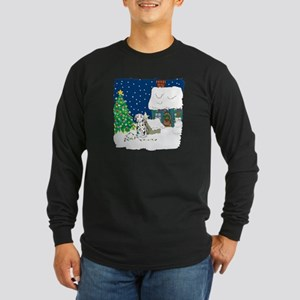 Christmas Lights Dalmation Long Sleeve Dark T-Shir