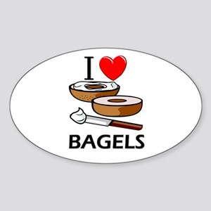 I Love Bagels Oval Sticker