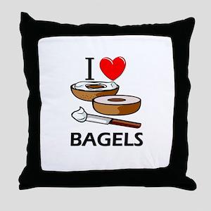 I Love Bagels Throw Pillow