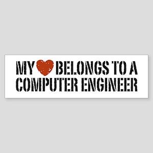 My Heart Belongs to a Computer Engineer Sticker (B
