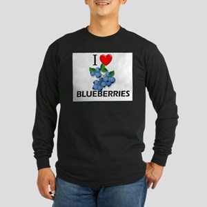 I Love Blueberries Long Sleeve Dark T-Shirt