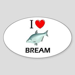 I Love Bream Oval Sticker