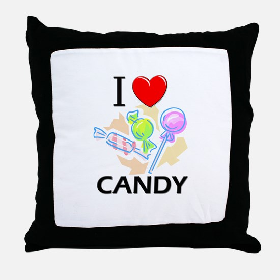 I Love Candy Throw Pillow