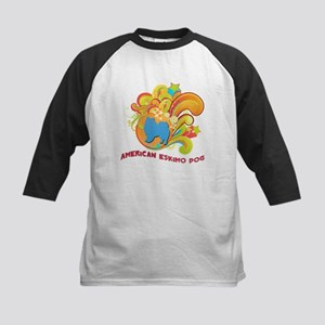 Groovy American Eskimo Dog Kids Baseball Jersey