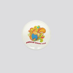 Groovy American Eskimo Dog Mini Button