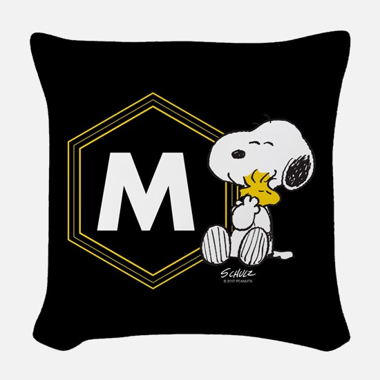 Snoopy Woodstock Monogrammed Woven Throw Pillow