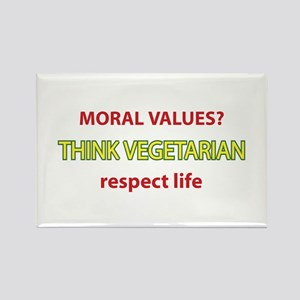 Think Vegetarian Rectangle Magnet