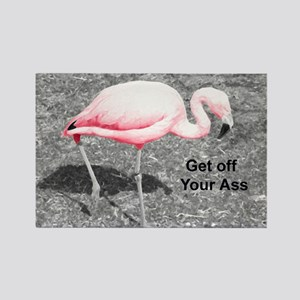 """Pink Flamingo Get off"" Rectangle Magnet"
