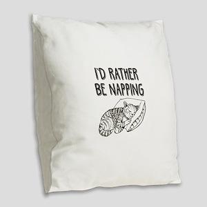 Funny Nap Time Kitty Cat Burlap Throw Pillow