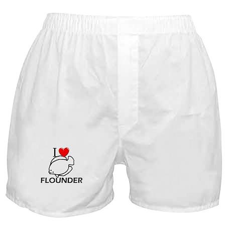 I Love Flounder Boxer Shorts
