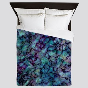 Purple and Teal Marble Watercolor Queen Duvet