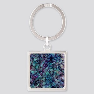 Purple and Teal Marble Watercolor Keychains