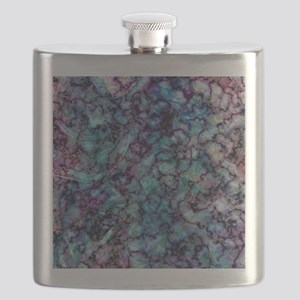 Purple and Teal Marble Watercolor Flask