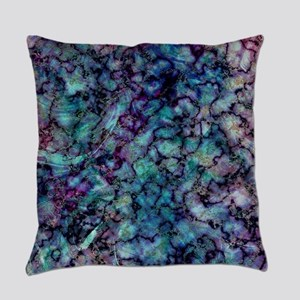 Purple and Teal Marble Watercolor Everyday Pillow