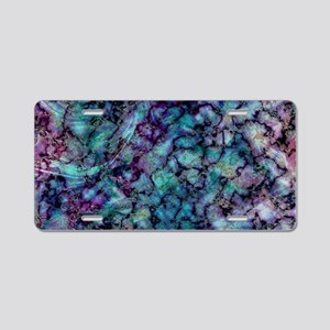 Purple and Teal Marble Wate Aluminum License Plate