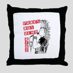 Punks Not Dead Throw Pillow